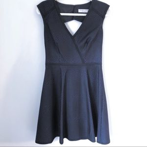 Navy and Black Fit and Flare Dress